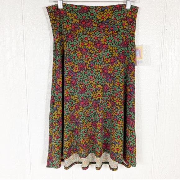 NEW LuLaRoe Colorful Daisy Print Azure Midi Skirt